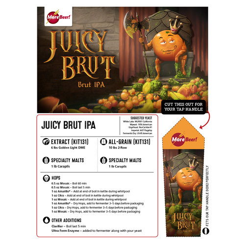 Juicy Brut IPA - Extract Beer Brewing Kit (5 Gallons)