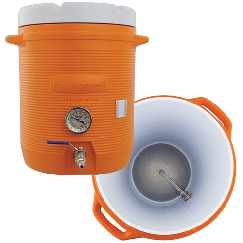 A mash tun cooler set up perfect for decoction mashing