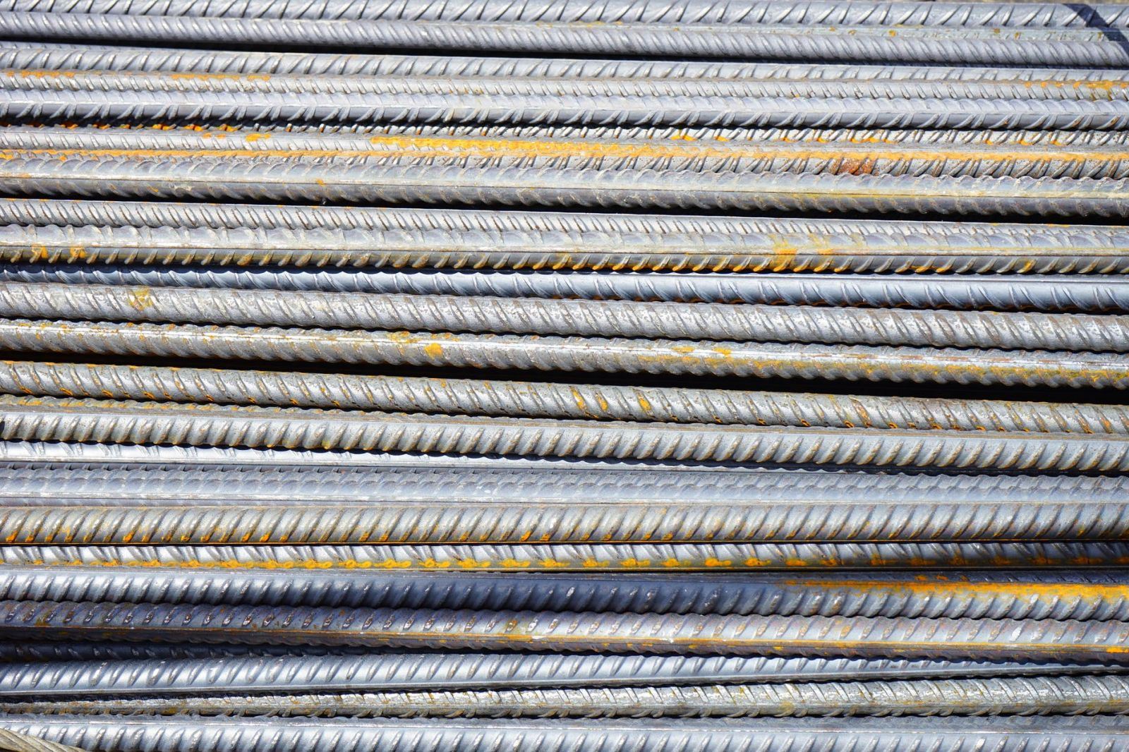 Rows of iron steel rods